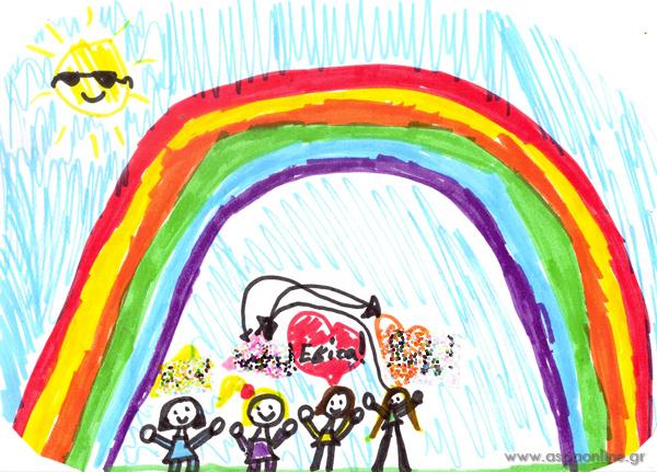 Οι Εβίτα ζωγραφίζει τις φίλες της. Το 4ο κορίτσι ήθελε να είναι το ξανθό και τους άλλαξε θέσεις με βελάκια.