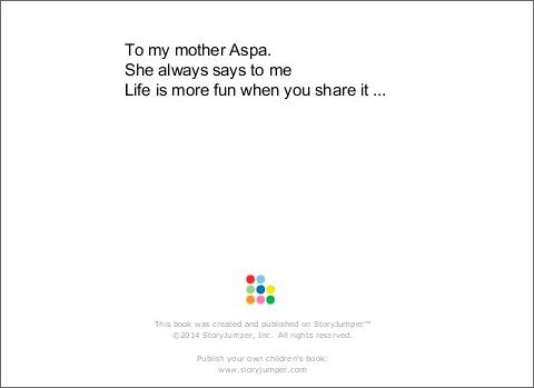 """Στη μητέρα μου Άσπα. Πάντοτε μου λέει """"Η ζωή είναι πιο διασκεδαστική όταν τη μοιράζεσαι...."""""""