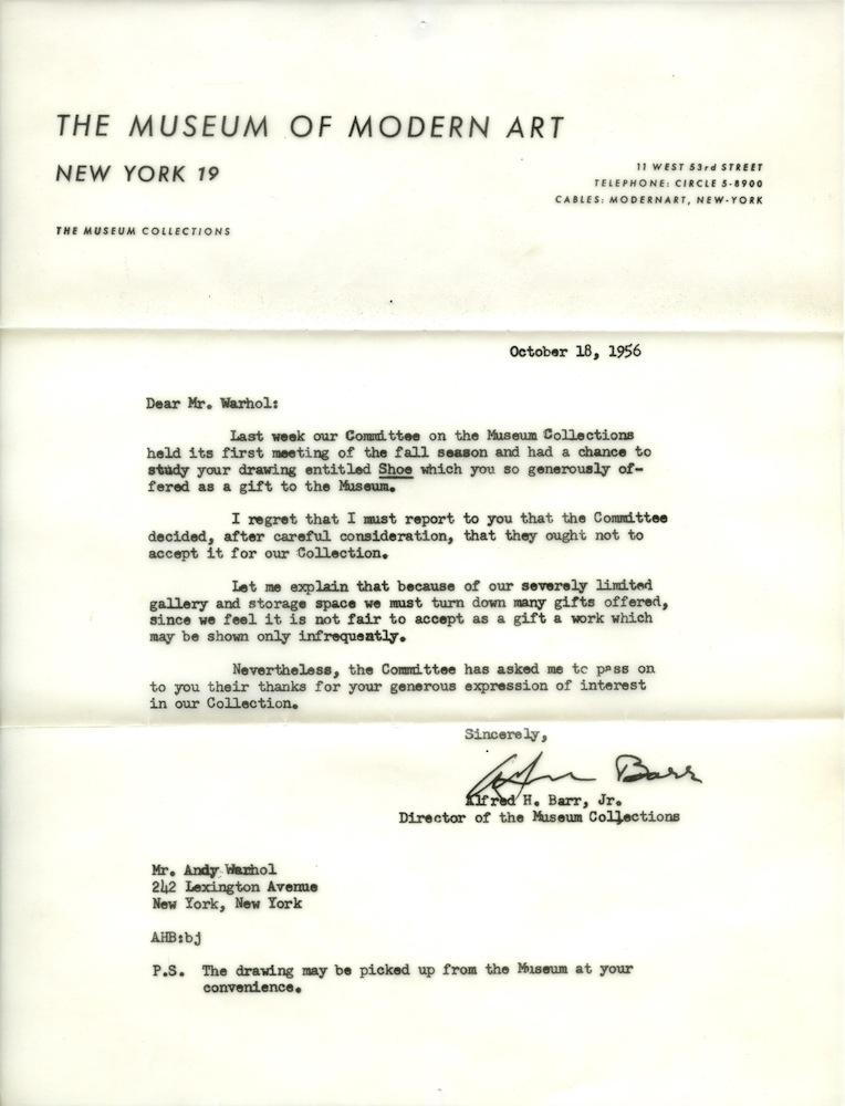 Γράμμα απόρριψης στον Warhol