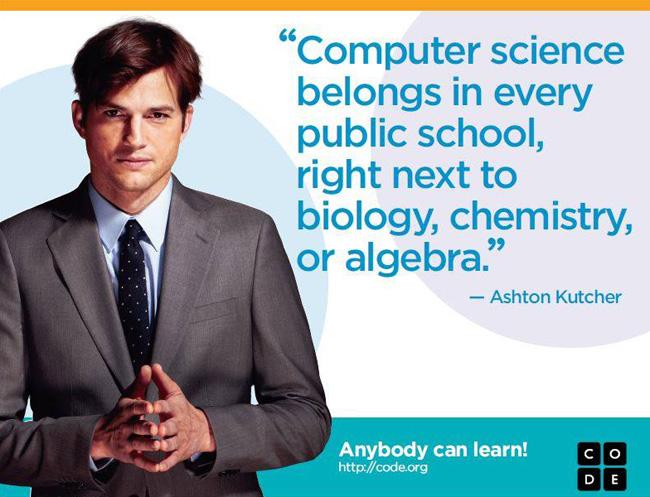 Ashton Kutcher: Computer science belongs in every public school