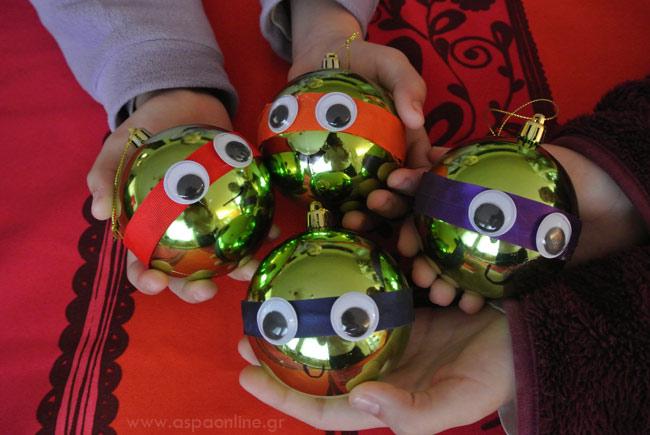 Χριστουγεννιάτικες μπάλες χελωνονιντζάκια