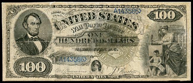 Πλαστό χαρτονόμισμα των $100 του Ninger (National Museum of American History).